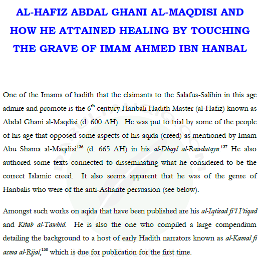Al Hafiz Abdal Ghani Maqdisi D600AH Attained Healing By Touching Imam Ahmed Ibn Hanbelsra Grave